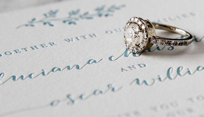 Letterpress wedding invitation suite.