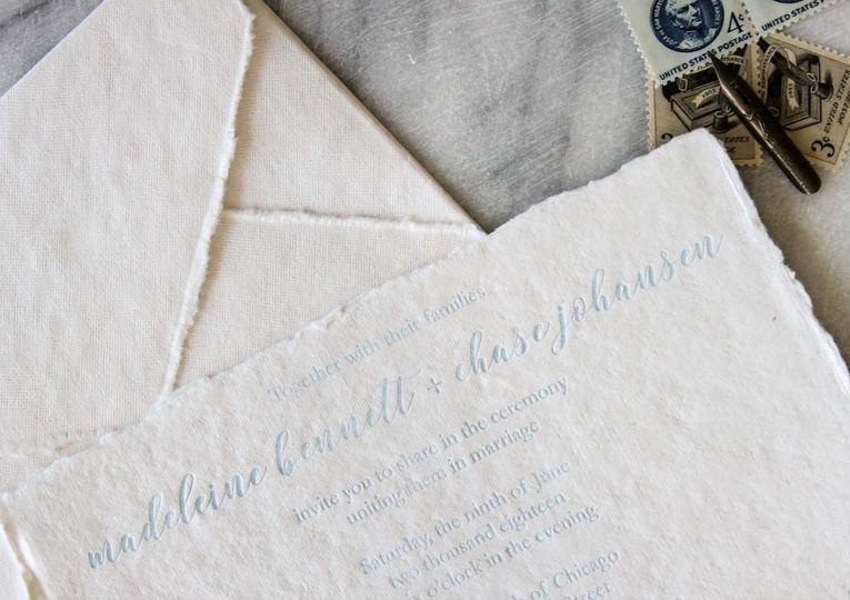 Letterpress wedding invitation on handmade cotton rag paper.
