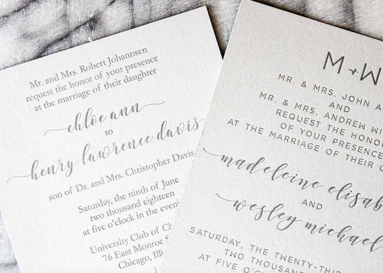 Letterpress wedding invitation suite 100% cotton stock.
