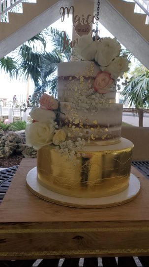 Buttercream, gold, and flowers