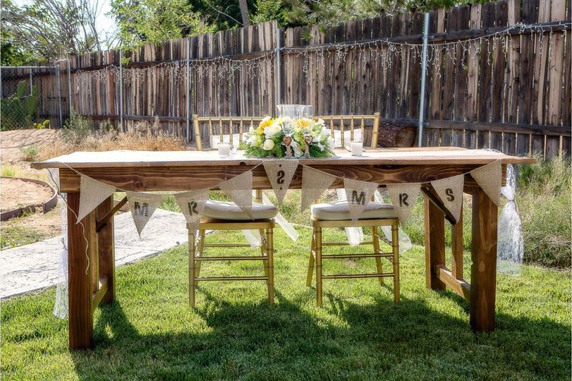 Sweetheart table made from re-purposed wood