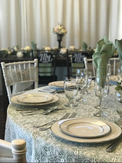 Vintage-style table setting with green accents