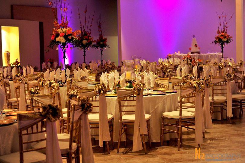 Reception tables and floral centerpieces