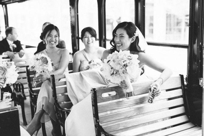 Bridal party having a ball
