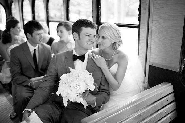 Bride and groom in trolley