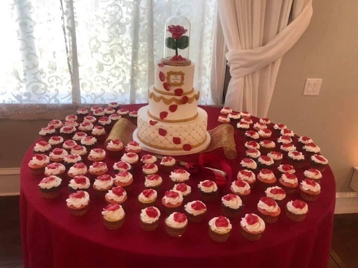 Cupcake and wedding cake display