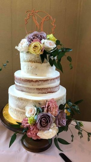 Naked cake with florals