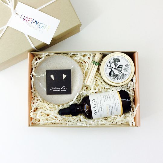 Bridesmaid / mother of the bride curated gift box. All items made in the USA and eco-friendly
