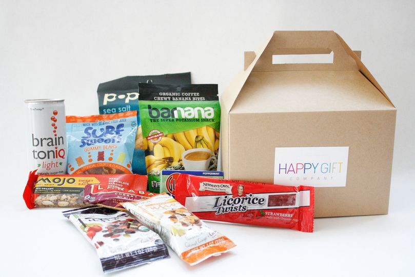 """Welcome"" destination wedding snack box. Perfect for out of town guests. Label can be customized."