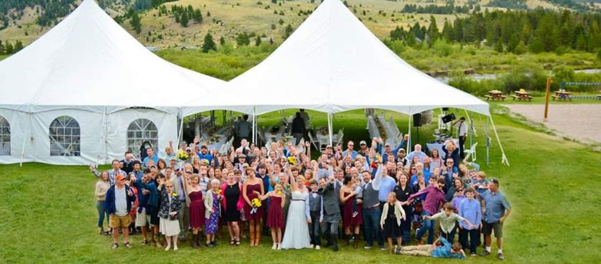 Wedding party and tent