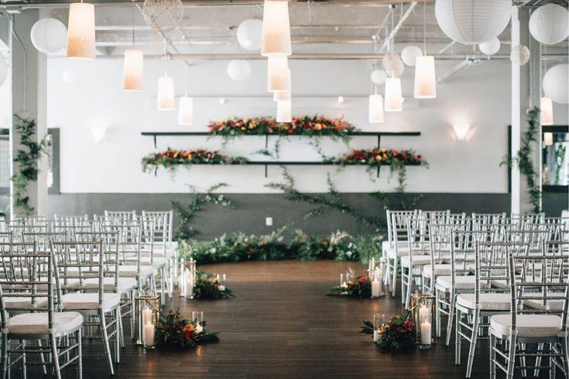 Indoor wedding aisle