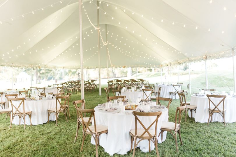 Outdoor white tent setup