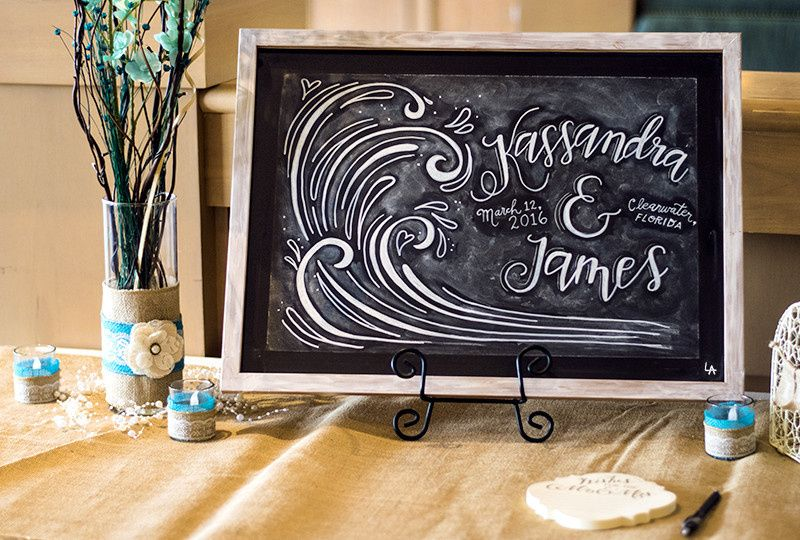 Chalkboard art for the guest table