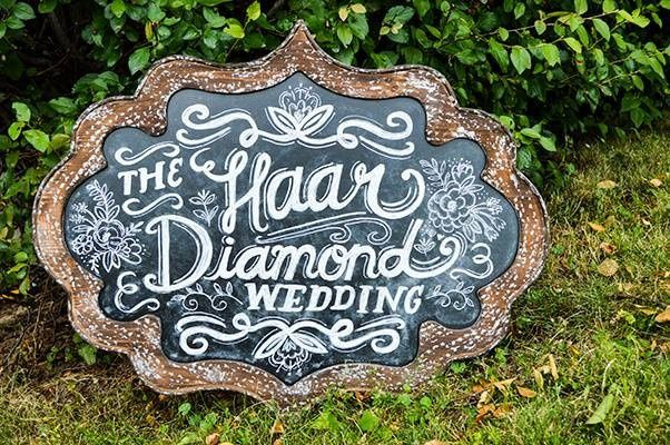 Chalkboard display for your reception.