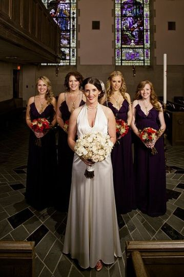 Bride together with her bridesmaids