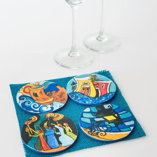 "3"" Diameter each Coaster. 6 1/2"" W x 6 1/2L bag. Each coaster represents the most famous historic..."