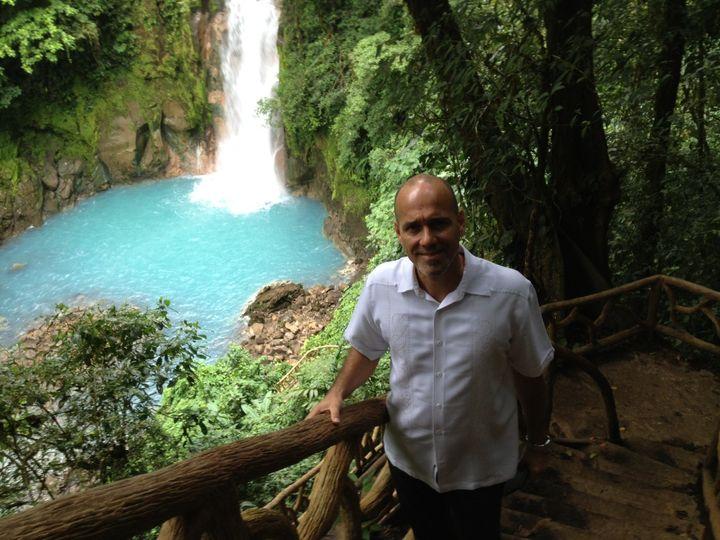 Waterfalls in the backdrop
