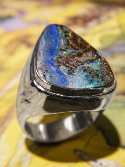 A custom sterling silver and Australian boulder opal ring made by Albert Drake.