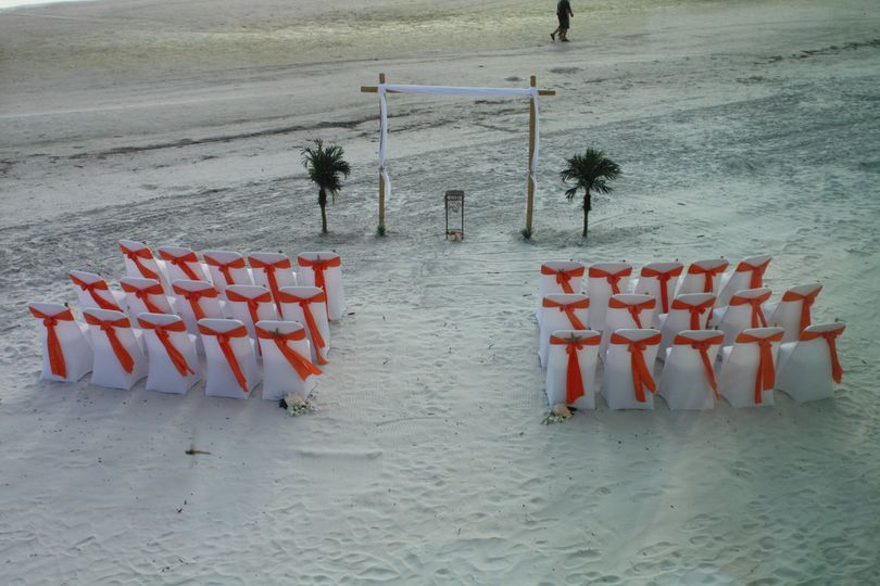 Ceremony decorations done by vendor hired by a bride made for a beautiful setting for their wedding