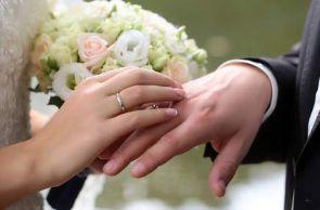 Couple exchanging wedding ring