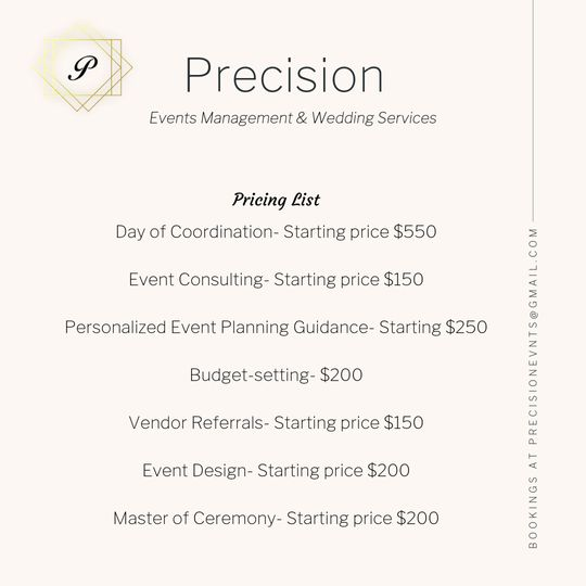 Precision Pricing List