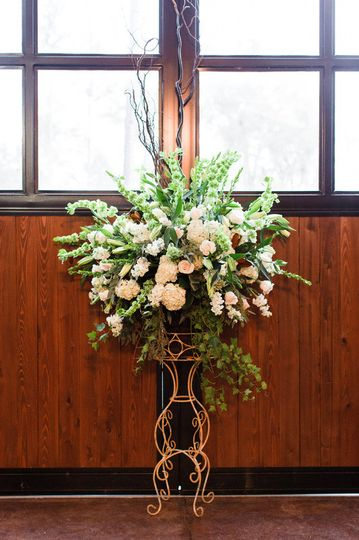 Tall vase and arrangement