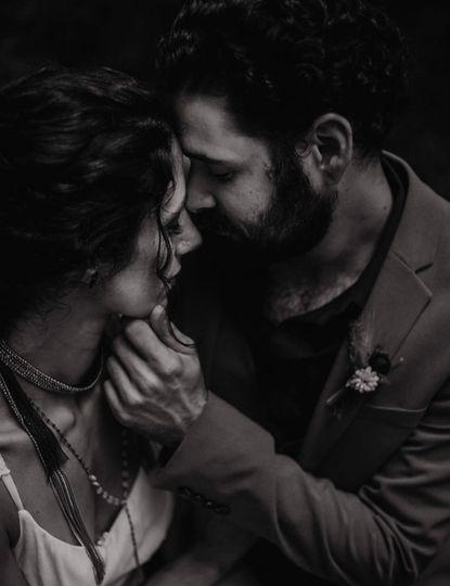 An intimate kiss