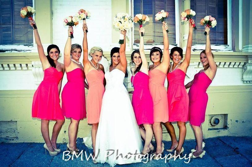Joyful bride and bridesmaids