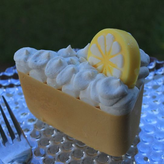 Lemon meringue pie soap slice