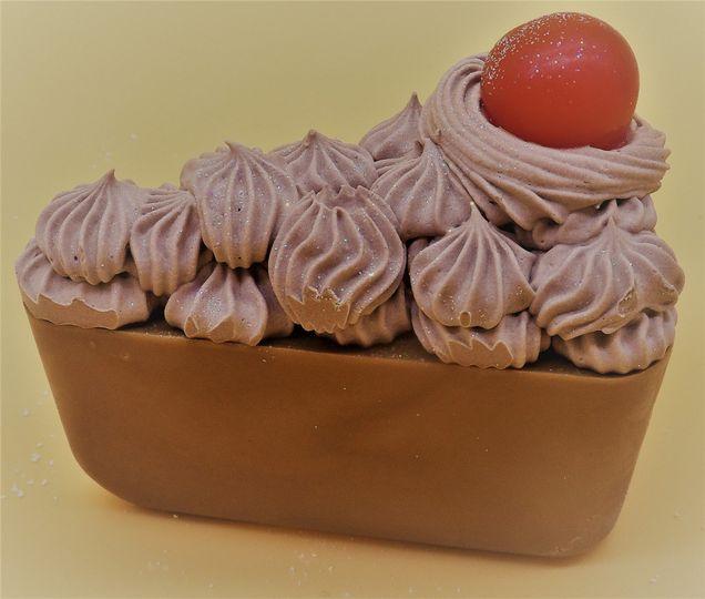 Chocolate Cake soap slice