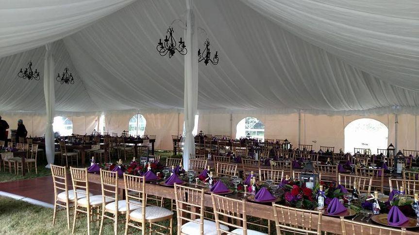 Reception tent setup