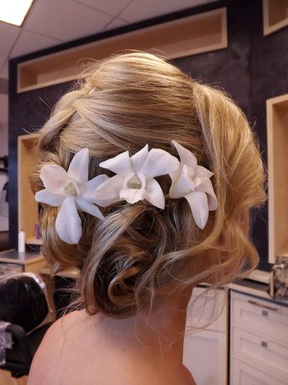 Flowers on bridal updo
