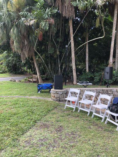 Dj setting outdoor wedding