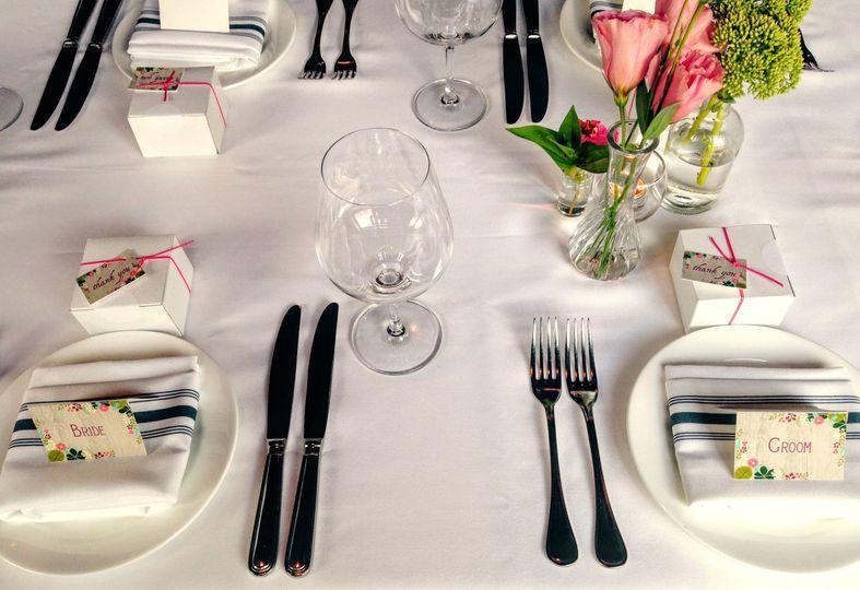 bride groom table setting