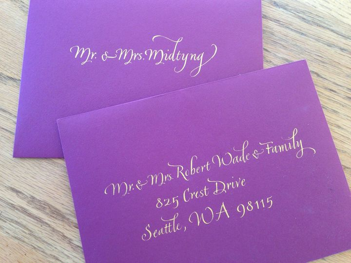 Purple invite with gold ink