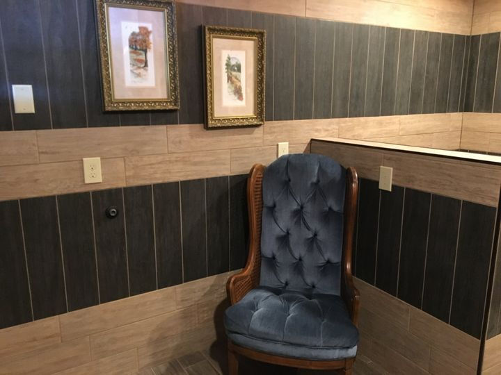 Seat in men's dressing room