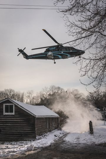 Guests arrive by helicopter