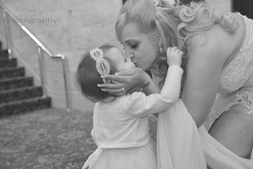 Bride kissing her child
