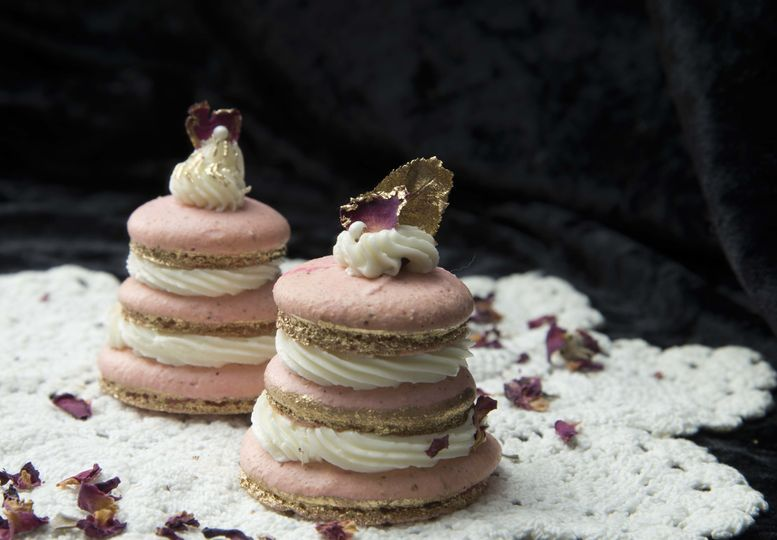 Raspberry Rose macarons stacks
