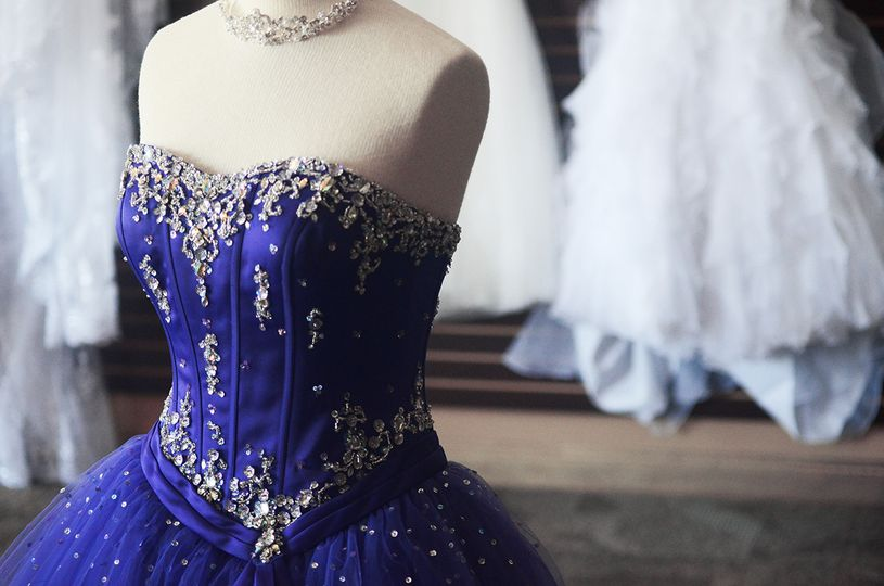 Blue and silver gown