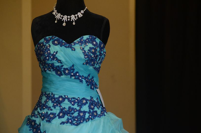 Bright blue gown and necklace