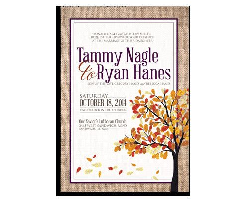 This burlap invitation is vibrant and sets the tone for a Fall wedding.  www.kellyreif.com