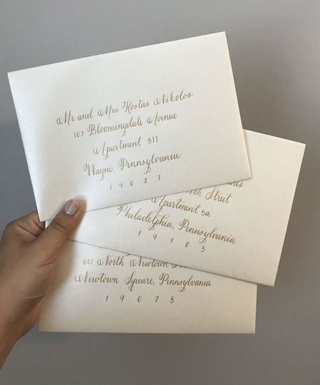 Gold & Shimmer Ivory Envelopes