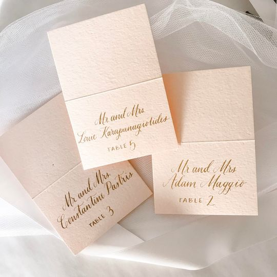 Blush and gold escort cards