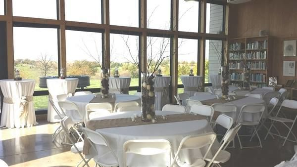 Wedding reception set up in the Vista Room