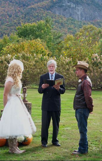 Rev. Tom officiates a country chic wedding in Cashiers, NC, Fall 2013
