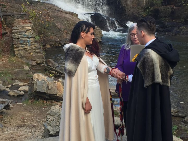 Nordic handfasting at a waterf