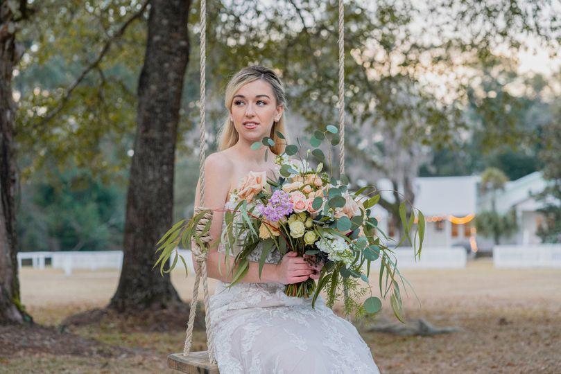 A bride on a swing