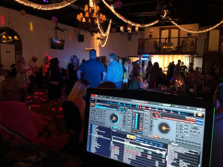 The DJ booth and dance floor