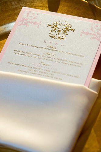Tmx 1349211638454 MenucardinourPDSButterNapkinpocketfoldsetup Santa Fe Springs wedding rental